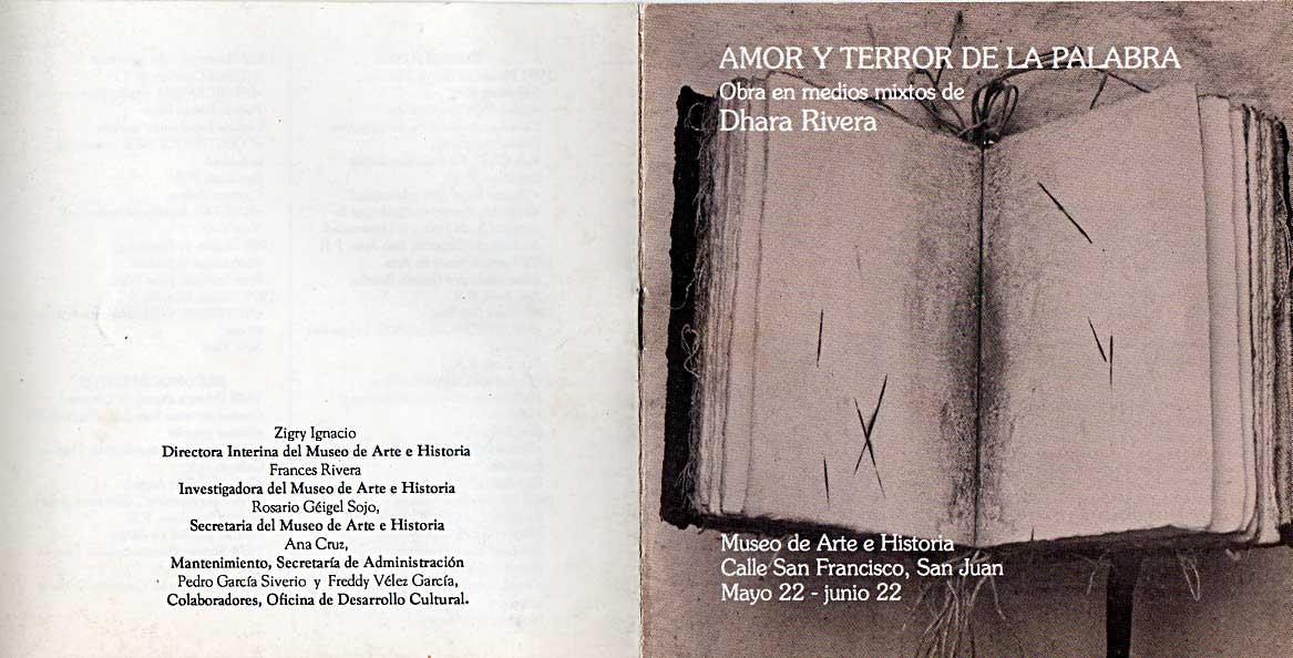 Amor y Terror de la palabra de Dhara Rivera
